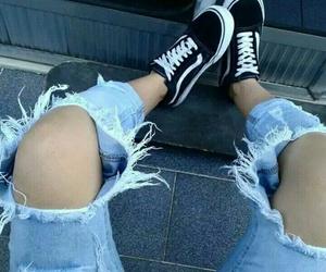 black, vans old skool, and jeans image