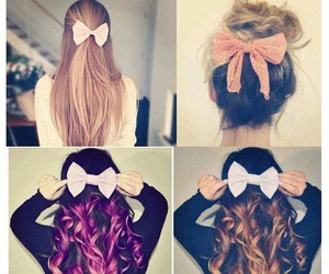 bow, ombre hair, and curly hair image