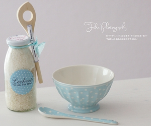 blue, coconut, and polka dots image