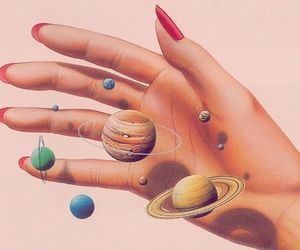 planet, art, and hand image