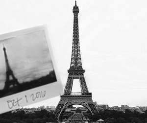 black and white, eiffel tower, and polaroid image