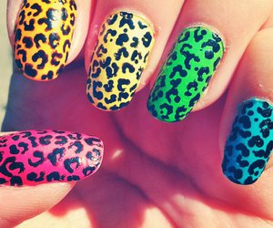 nails, leopard, and yellow image