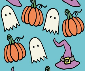 background, ghost, and pumpkin image