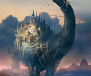 fantasy, art, and dinosaur image