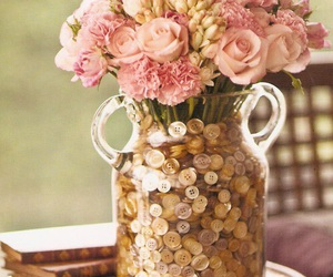flowers, buttons, and rose image
