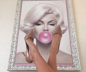 pink, shoes, and Marilyn Monroe image