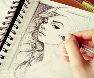draw, art, and girl image