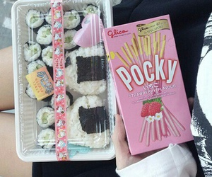 pocky, sushi, and food image