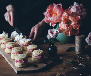 flowers, cake, and food image