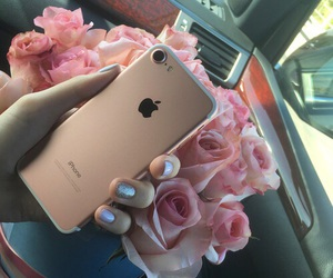 apple, flowers, and iphone image