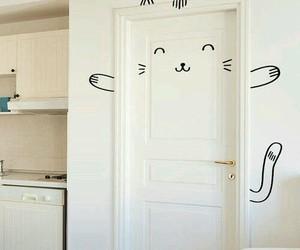 cat, door, and diy image