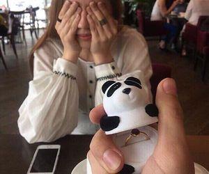 love, couple, and panda image
