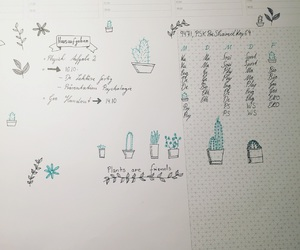 doodles, plants, and green image