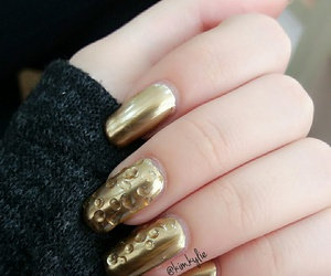 beauty, golden, and nails image
