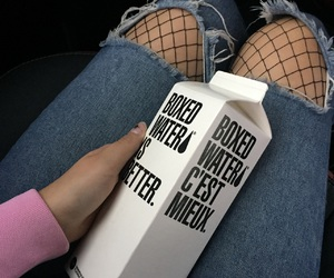 boxed water, girl, and grunge image