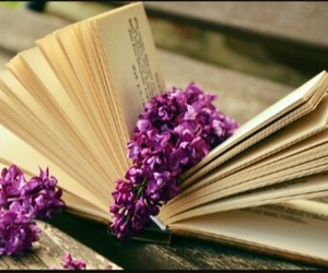 books, flowers, and pages image