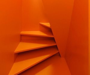orange, aesthetic, and stairs image