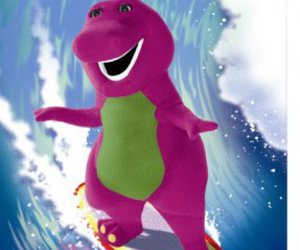 barney, surfing, and hilarious image