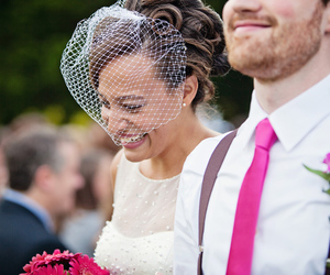 birdcage veil, pink, and bride and groom image