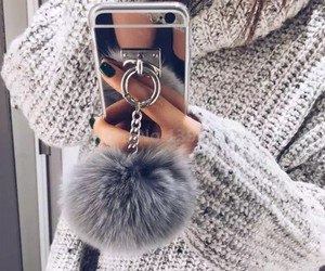 grey, iphone, and pom pom image