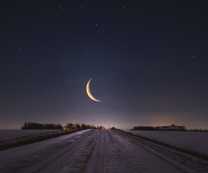 moon, night, and road image