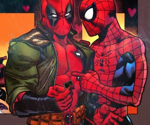deadpool, yaoi, and peter parker image