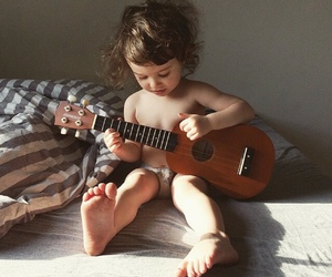 baby, guitar, and music image