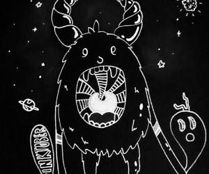 blackandwhite, illustration, and monster image