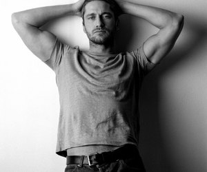 black and white and gerard butler image