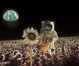 astronaut, space, and flowers image