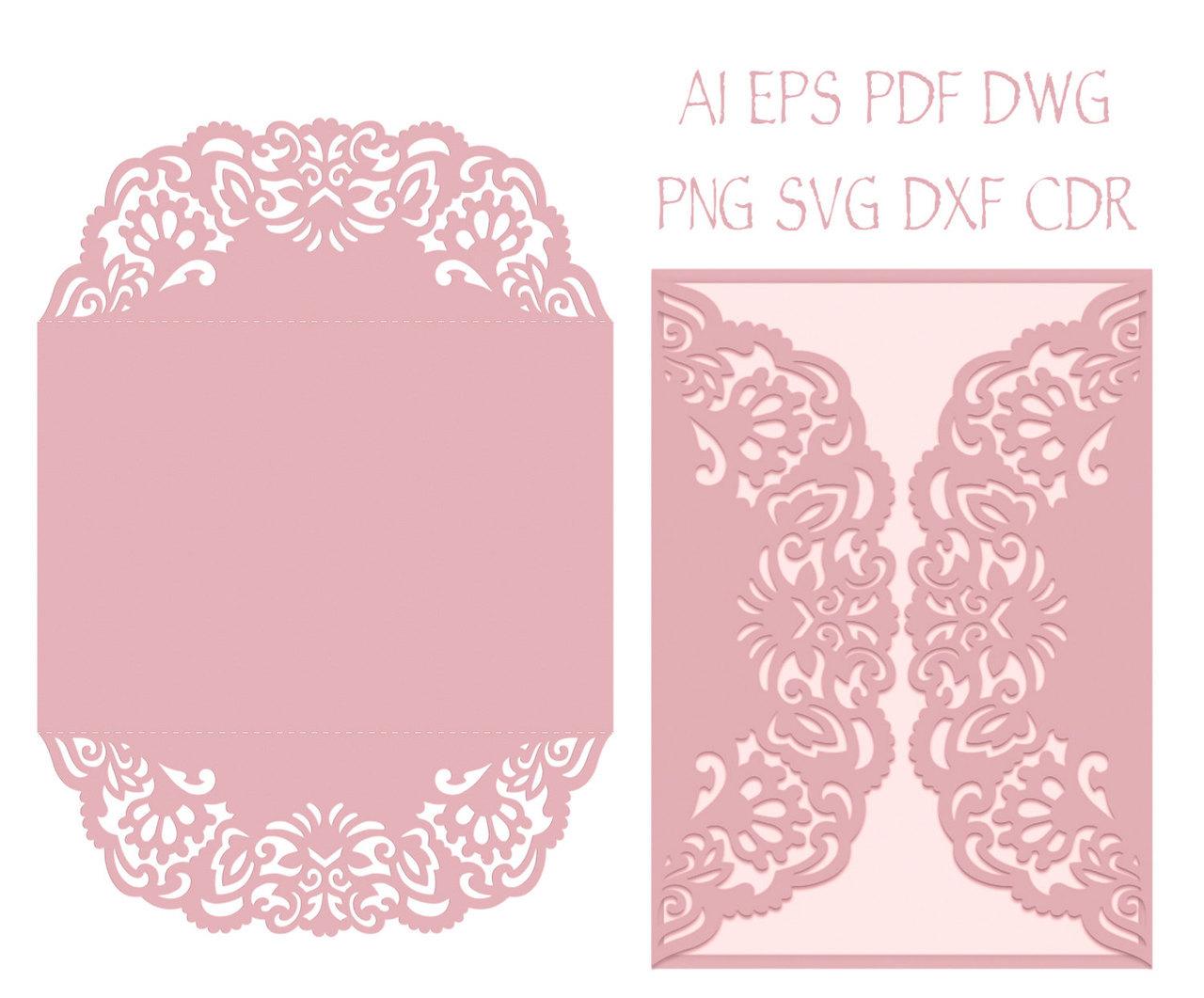 gate fold wedding invitation laser cut card template quinceanera