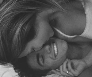 bed, hug, and boyfriend image
