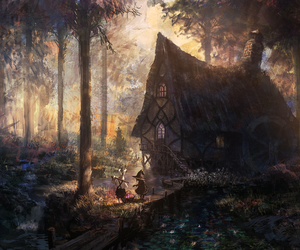forest, house, and art image