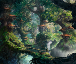 art, forest, and illustration image