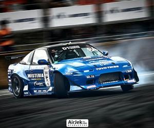 blue, smoke, and 240sx image