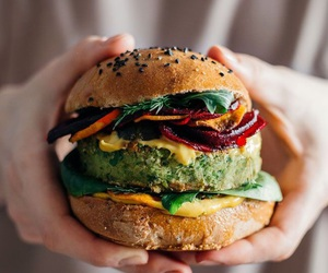 burger, food, and vegan image
