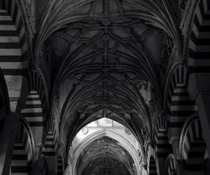 architecture, black and white, and dark image