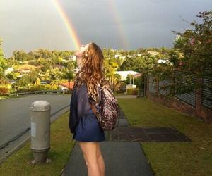 girl, rainbow, and grunge image