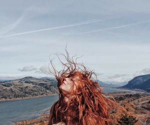 girl, wind, and nature image