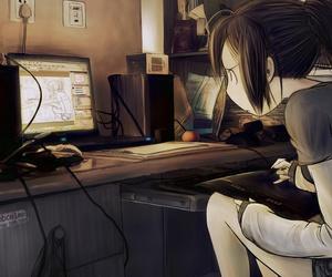 anime, computer, and drawing image