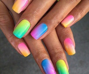 nails, rainbow, and manicure image