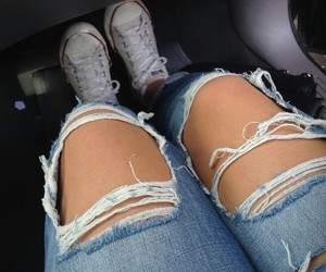 jeans, rip, and alive image