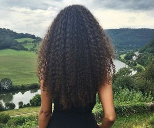 curly hair, nature, and long curly hair image