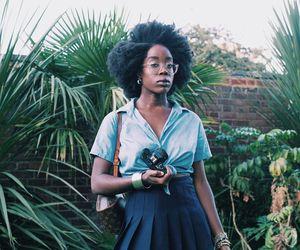 fashion, natural hair, and short skirt image