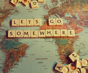 travel, quotes, and map image