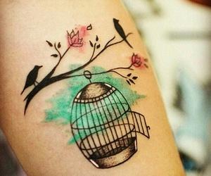 tattoo, bird, and cage image