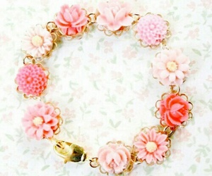 flowers, pink, and bracelet image