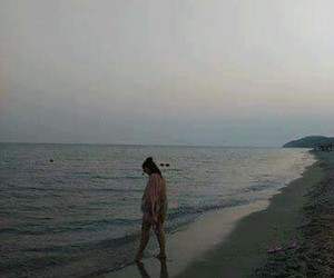 alone, beach, and girl image