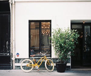 architecture, bike, and cafe image