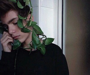 boy, plants, and grunge image